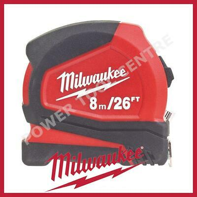 Milwaukee 4932459596 Pro Compact Tape Measure 8m/26ft Jobsite Durable C8-26/25
