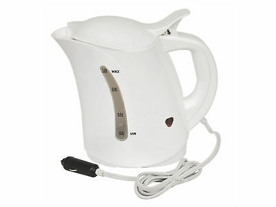 Car Travel Kettle Camping Water Kettle 12v Cigarette Lighter Powered White