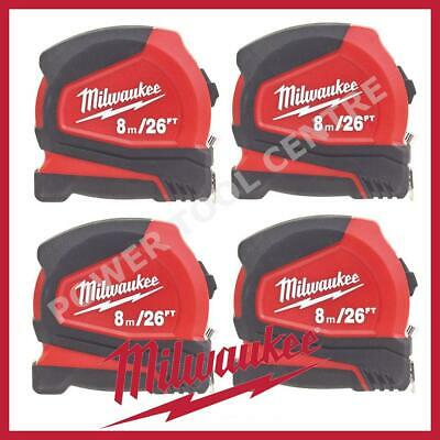 4x Milwaukee 4932459596 Compact Tape Measure 8m/26ft Jobsite Durable C8-26/25