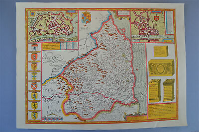 Vintage decorative sheet map of Northumberland John Speede 1610