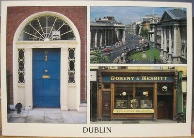 Irish Postcard DUBLIN Multiview Georgian Door Doheny Liam Blake Real Ireland S88