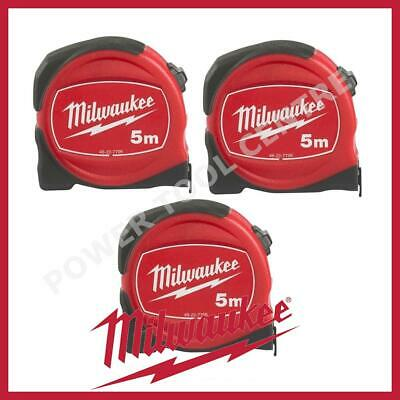 3x Milwaukee 48227706 Pro Compact Tape Measure 5m Jobsite Durable S5/25