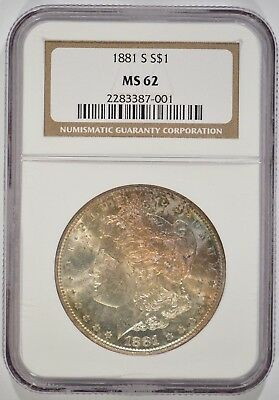 United States 1881-S Morgan Silver Dollar $1 NGC MS62 2283387-001 Toned Obverse