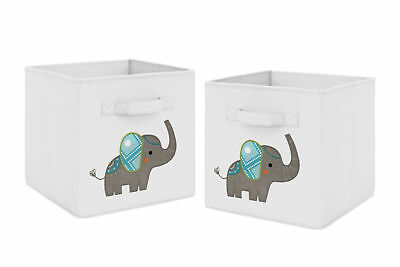 Turquoise Grey Mod Elephant Foldable Fabric Storage Cube Bins Boxes - 2pc Set