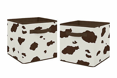 Brown Cream Cow Wild West Foldable Fabric Storage Cube Bins Boxes - 2pc Set