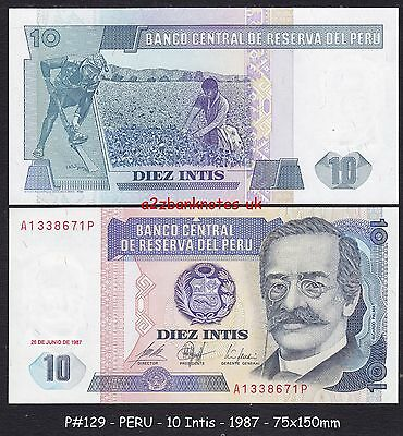 1987 uncirculated 100 intis bank note from peru 100 picclick uk p 129 peru 10 intis 1987 100 crisp uncirculated condition thecheapjerseys Image collections