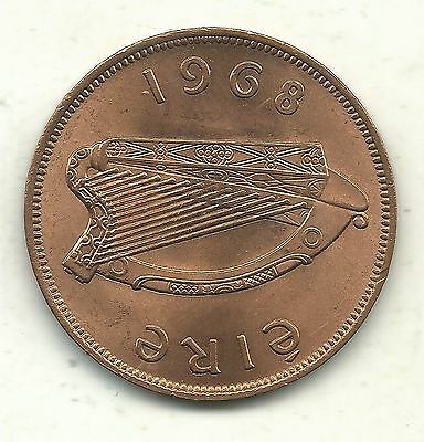 Brilliant Uncirculated Bu 1968 Ireland One Penny Coin-Harp-Jul512