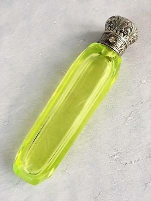 Antique Uranium / Vaseline Glass Perfume Scent Bottle Silver Lid C1880