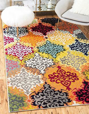 Modern Style Multi Color Area Rug Contemporary Design Colorful