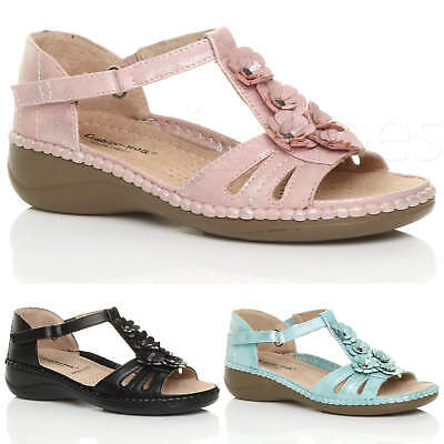 Womens Ladies Low Mid Wedge Heel Flower Strappy Comfort Padded Sandals Size