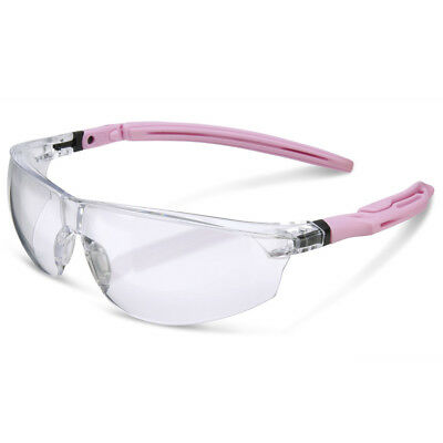 B-Brand H30 Clear Lens Pink Ladies Womens Work Safety Specs Spectacles Glasses