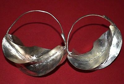 Large African Fulani Tribal Lightweight Silver Wash Brass Metal Earrings, Africa