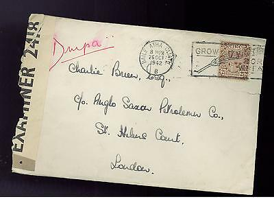 1942 Ireland censored Airmail cover to England Anglo Saxon Petroleum Company Oil