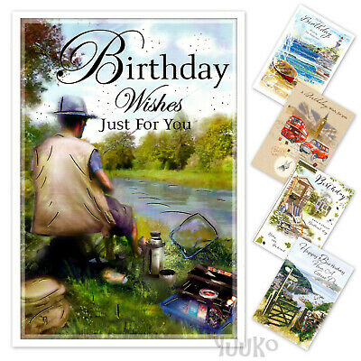 Open Birthday Card, for adults, male, female, for him or her, elegant design