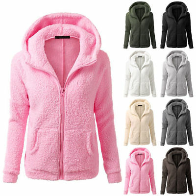 Womens Ladies Warm Fluffy Fleece Hoodies Hoody Hooded Jumper Pullover Zip Jacket