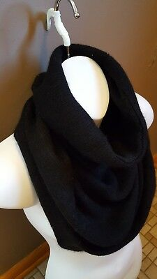 NWT Black Lux Cashmere Mohair HELMUT LANG Snood Cowl Scarf OSFA retail $235