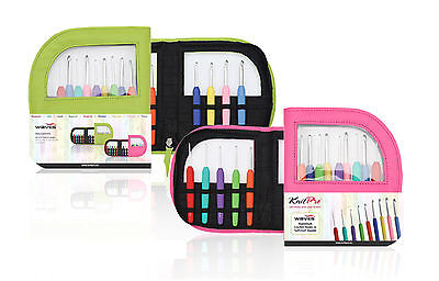 KnitPro Waves 9 Crochet Hook Set in case green o pink with colourful soft grip
