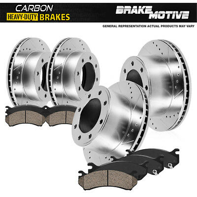 FRONT+REAR DRILL SLOT Brake Rotors +Ceramic Pads For Porsche Cayenne