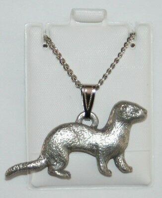 Ferret Harris Fine Pewter Pendant w Chain Necklace USA Made