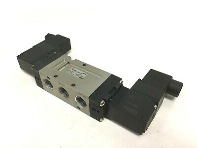 "SMC NVF5220-5DZ-03T 2 Position 5 Way Air Piloted Dual Solenoid Valve, 3/8"" NPT"