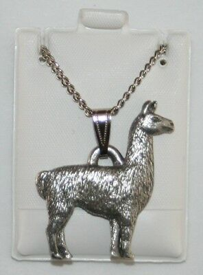 Llama Harris Fine Pewter Pendant w Chain Necklace USA Made