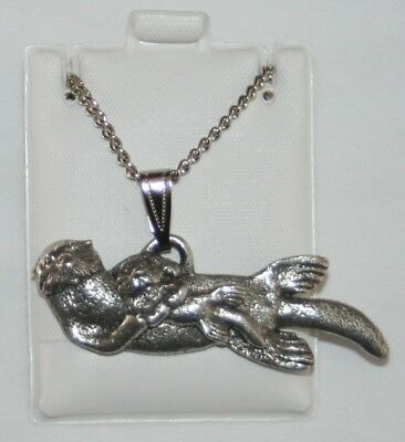 Sea Otter Harris Fine Pewter Pendant w Chain Necklace USA Made