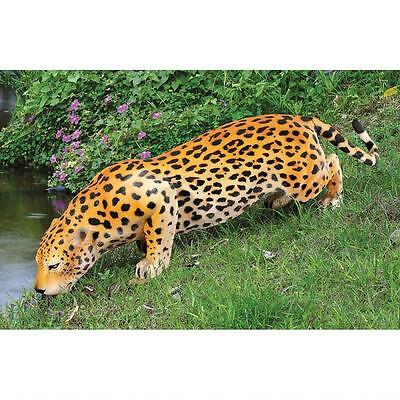 Realistic Wildlife Giant Spotted Jaguar Large Cat Feline Animal Sculpture Statue