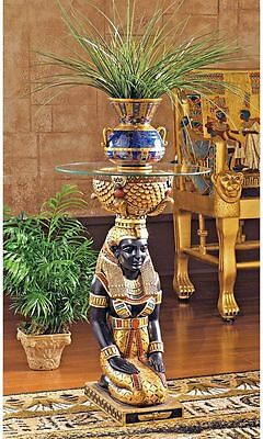 Egyptian Goddess Isis Glass Top Side Sculpture Table Egypt Decor NEW