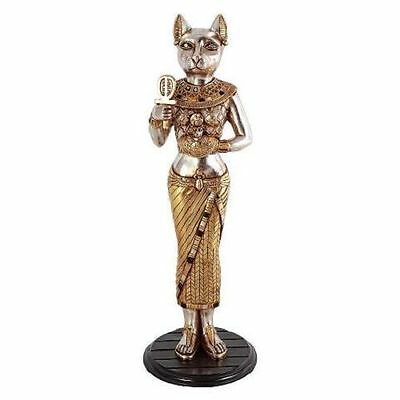 "Egyptian Cat Goddess Silver & Gold-toned 36"" Replica Bastet Statue Sculpture"