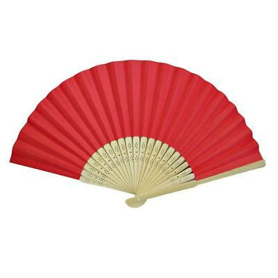 LOT OF 10 RED HAND FAN Folding Pocket Wedding Plain Bamboo Paper GOOD QUALITY