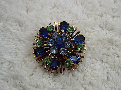 Vintage Brass Blue Green Rhinestone Pin (C59)