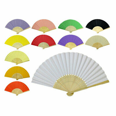 LOT OF 10 PAPER HAND FANS Folding Fan Wedding Gift Party Favor Bamboo Ten Pcs