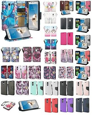 LG Tribute Dynasty Design Wallet Credit Card ID With Kick Stand Flip Case Cover