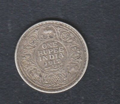 India British Administration Silver Coin One Rupee 1917