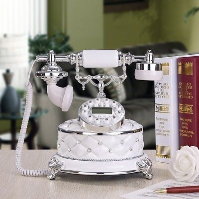 White Antique Push Button Corded Phone Retro Vintage Home&Desk Telephone Hot*