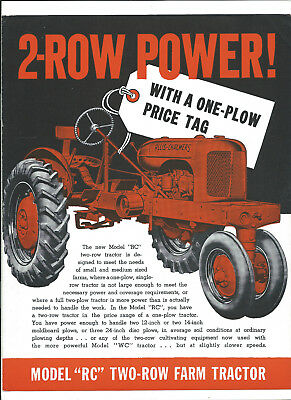 Allis-Chalmers Model Rc Two-Row Vintage Tractor 4 Page Sales Brochure