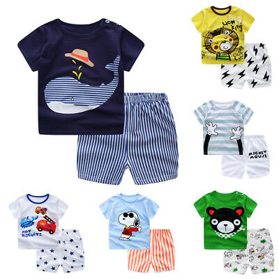 Set T-shirt Baby Summer Pants Cotton Tops+shorts Outfit 2pcs Clothes Girl Child