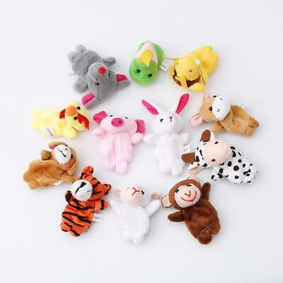 12X Family Cartoon Hand Animal Finger Puppets Cloth Doll Baby Educational Toy LG
