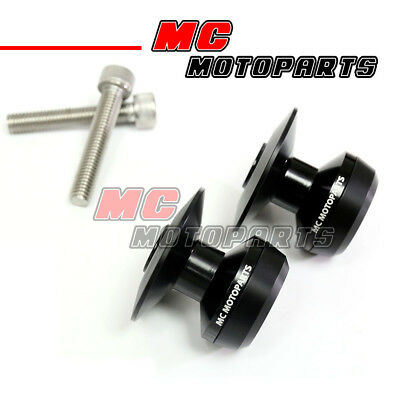 Black Twall Racing M8 Swingarm Spools Sliders For Kawasaki ZX-10R Ninja 2011-17