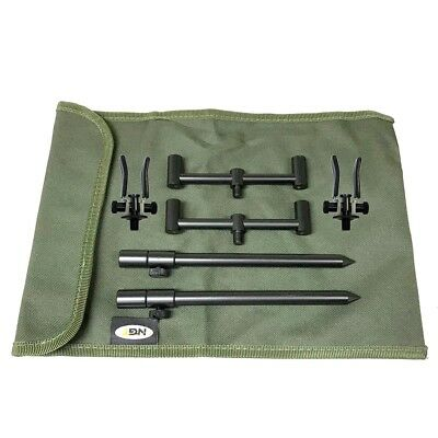 2 Rod Ali Short Buzz Bar Set Black With Bag + 2 Rests Carp Fishing Tackle
