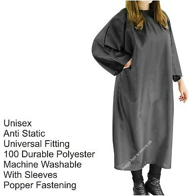 Hairdressing UNISEX GOWN Black Salon With Sleeves Brand REDSPOT With Poppers