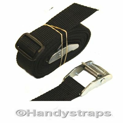 SET of 2 x25mm 1.5 meter BLACK endless tie down Cam buckle Car Luggage straps