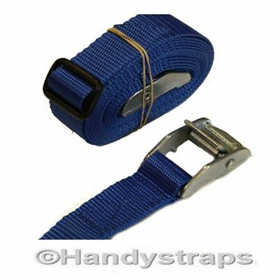 SET of 2 x 25mm L BLUE 1.5 meter endless tie down Cam buckle Car Luggage straps