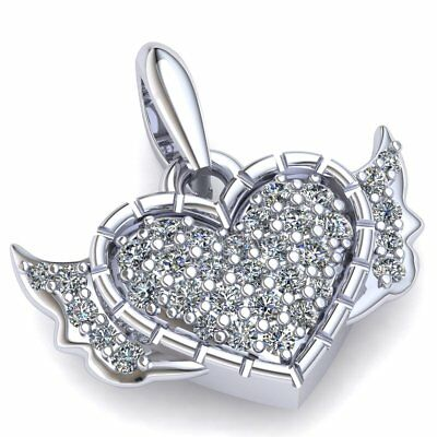 2ctw Round Cut Not Enhanced Diamond Ladies Heart with Wings Pendant 14K Gold