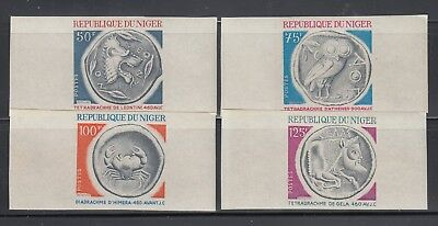 Niger 1975  Greek Coins Sc 332-335  IMPERF Mint Never Hinged