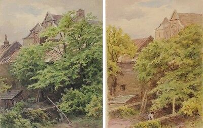 19th C English Watercolours Garden by Frederick George Reynolds 1828-1921