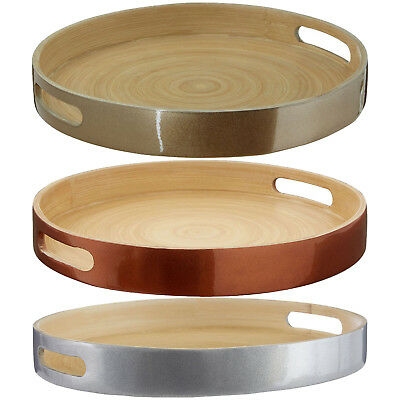 Kyoto Round Bamboo Serving Trays Wooden Butlers Dinner Food Breakfast Platter