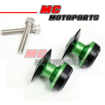 Green Twall Racing M8 Swingarm Spools Sliders For Kawasaki ZX-10R Ninja 2011-17