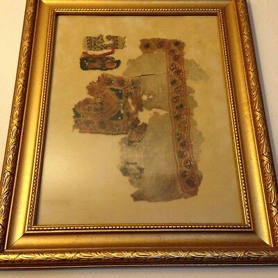 Egyptian Coptic Cloth Fragments In Frame