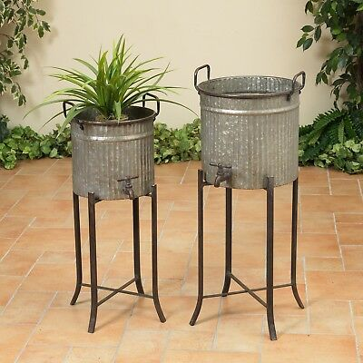2 Round Vintage Antique Galvanized Standing Planters Water Faucet Jug Bucket